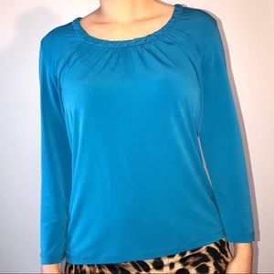 Teal ruffle neck top